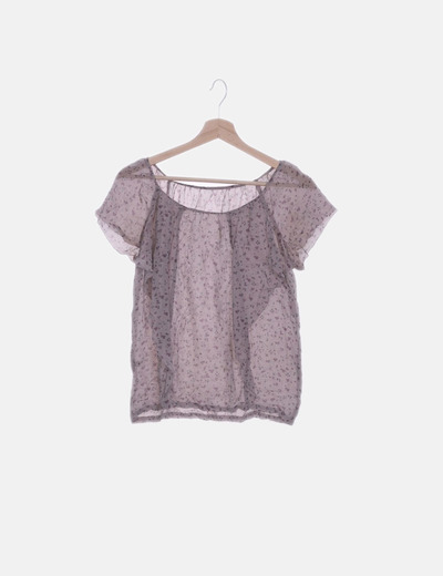Blusa de gasa lila print