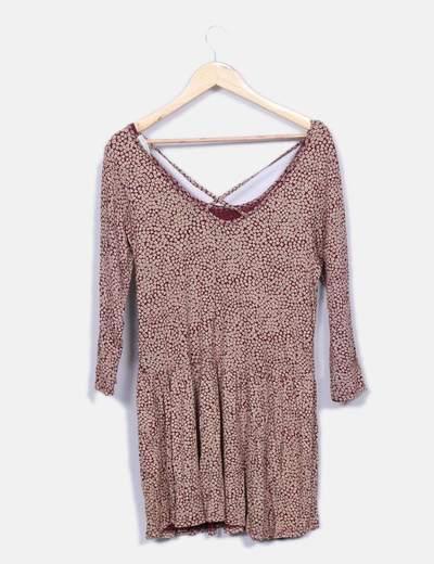 Vestido estampado bicolor