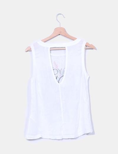 Camiseta blanca lino print floral
