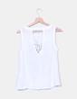 Camiseta blanca lino print floral Stradivarius