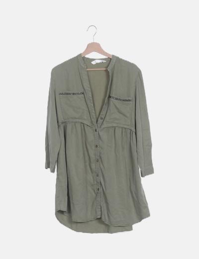 Vestido camisero verde detalle strass