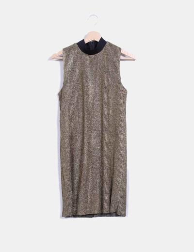 Vestido dorado de canalé Zara