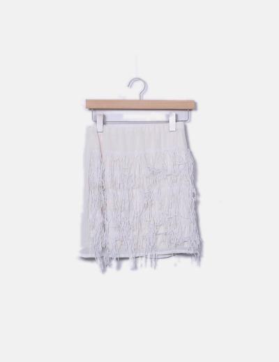 Falda color crudo flecos