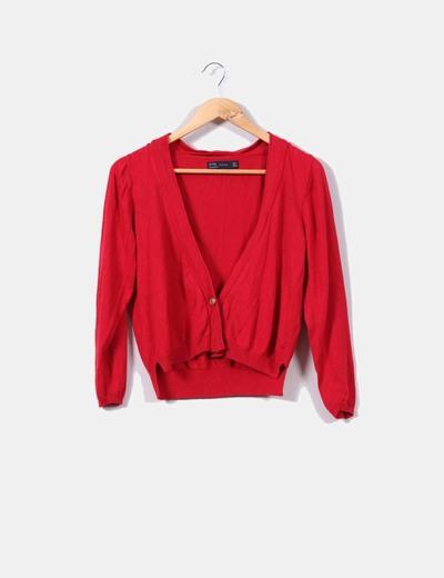 Zara Chaqueta punto fino corta en color rojo (descuento 63%) - Micolet b15374836aeb