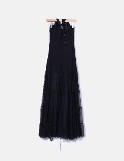 Vestido maxi combinado cuello halter