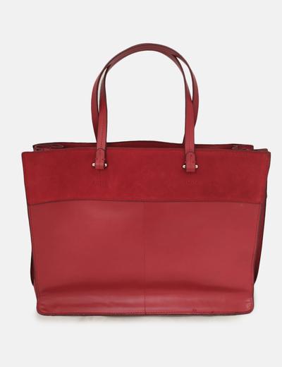 Bolso shopper rojo combinado