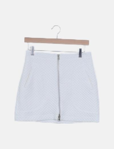 Falda mini blanca texturizada