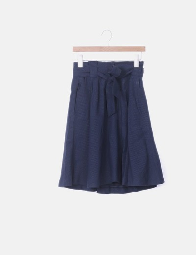 Falda midi azul paperbag