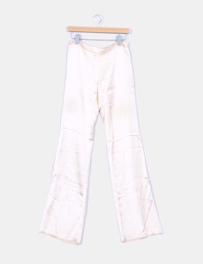 Pantalon doré cloche en soie Blumarine
