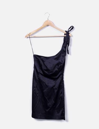 Vestido asimétrico negro satén Zara