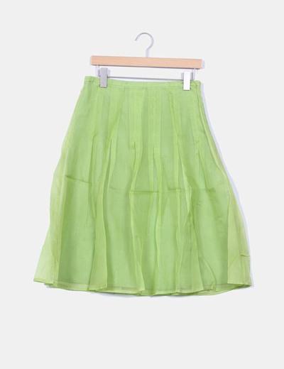 Falda verde con tablas Yera