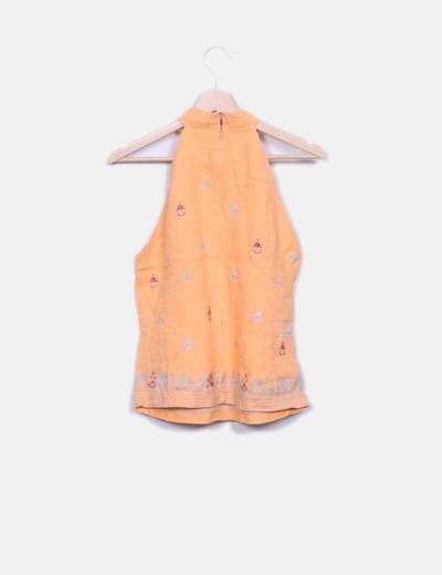 Blusa lino halter naranja