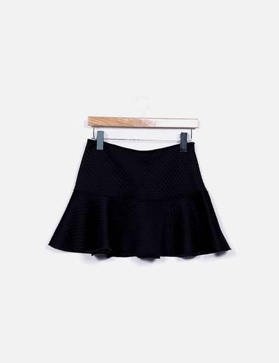 Mini falda evasé negro texturizado