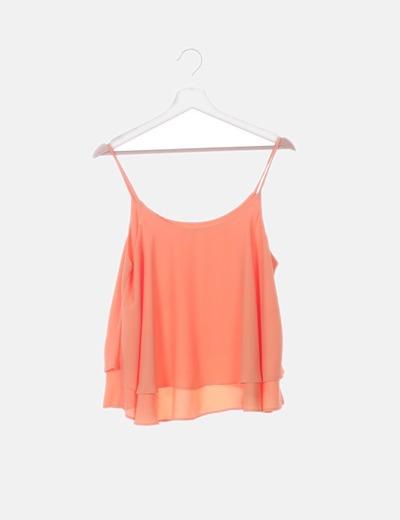 Blusa volantes naranja