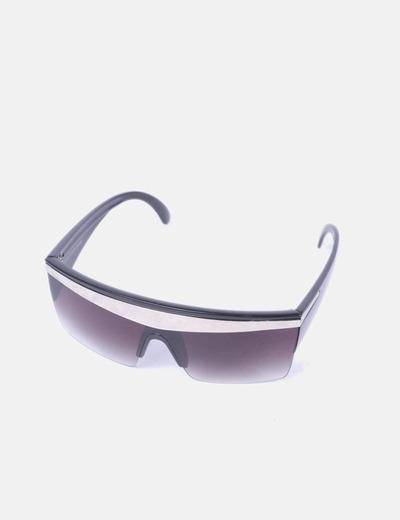 Gafas de sol cristal negro detalle metalizado