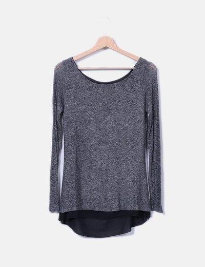 Camiseta de punto gris abertura trasera