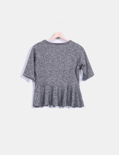 Top tricot peplum plateado
