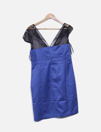 Vestido azul combinado con pailettes