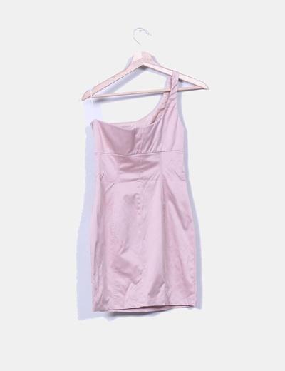 Vestido rosa asimetrico nacarado