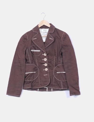Blazer marrón costuras en beige Hoss Intropia