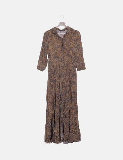 Vestido maxi animal print marrón