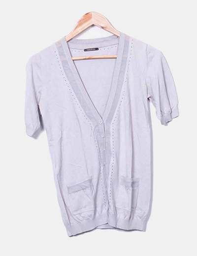 Jersey tricot maga corta gris
