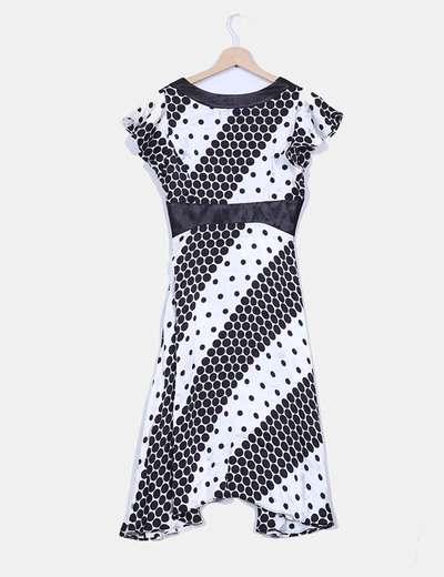 Vestido blanco y negro estampado