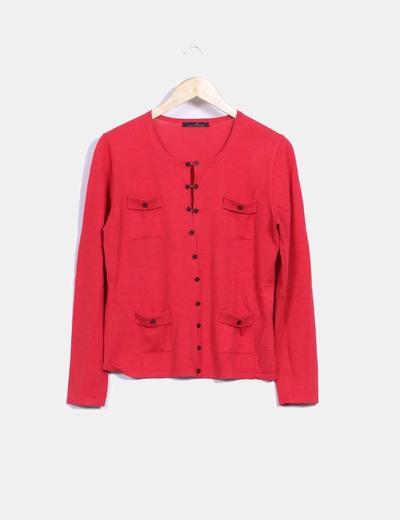 Chaqueta tricot rojo con bolsillos Carolina Herrera