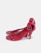 Sandalia roja con tira troquelada Nathaly