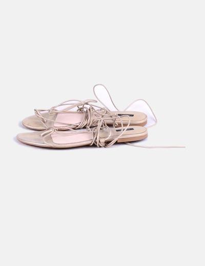 moda atractiva diseño popular bonita y colorida Sandalia dorada con cordón