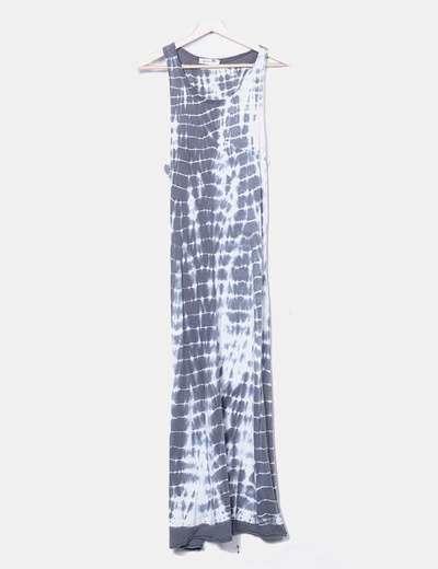 Maxi vestido estampado bicolor de tirantes