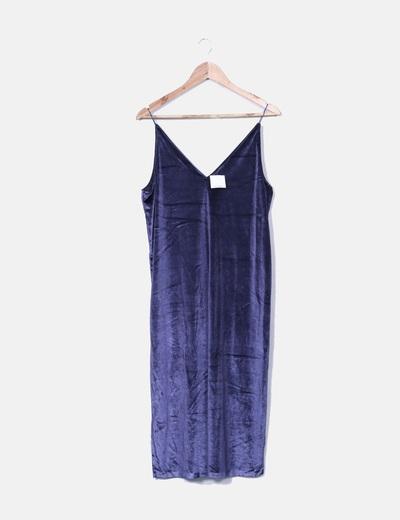 Robe bleue en velours Oysho