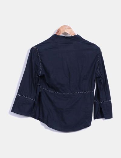 Camisa azul marino crochet