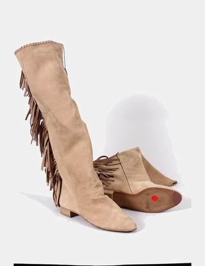 Botas de piel camel con flecos