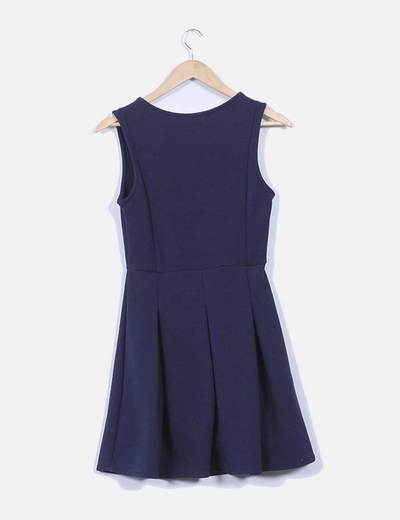 Vestido azul marino avolantado creppe