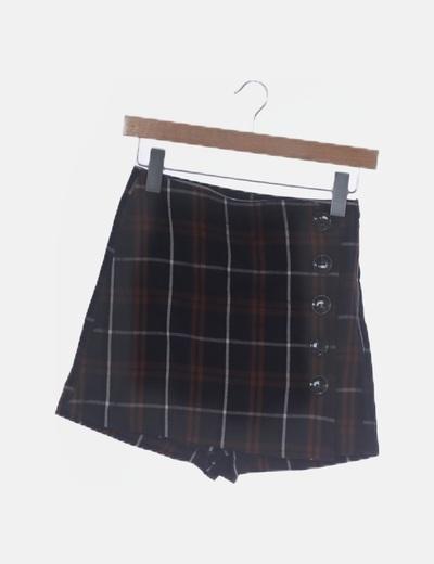 Falda pantalón cuadros marrones