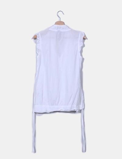 Blusa blanca drapeada