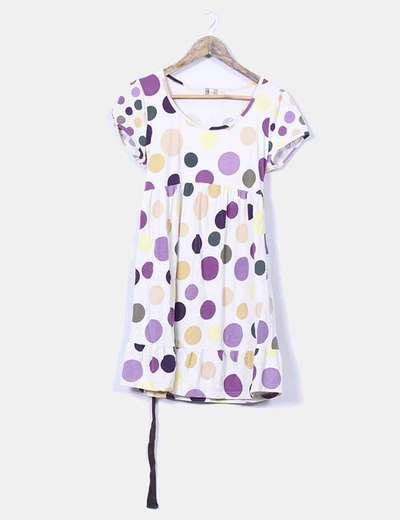 Vestido beige topos de colores Cortefiel