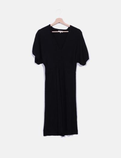 Vestido tricot negro escote pico Festa