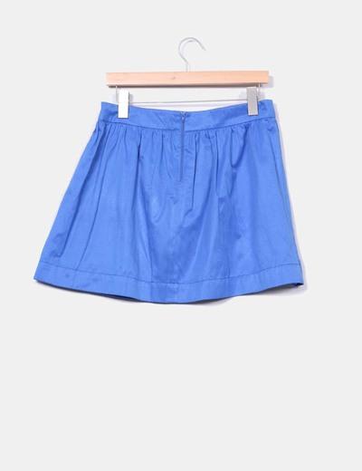 Falda evase azul klein