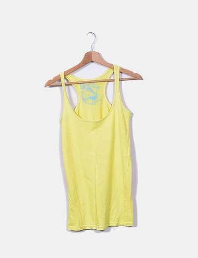 Camiseta nadadora amarilla Bershka