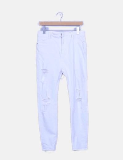Jeans ripped blanco pitillo