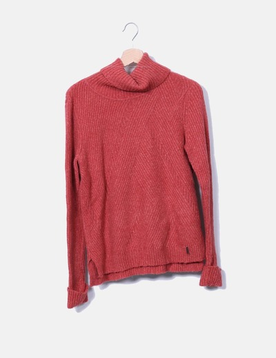 Pull rouge tricoté avec col roulé Pedro del Hierro