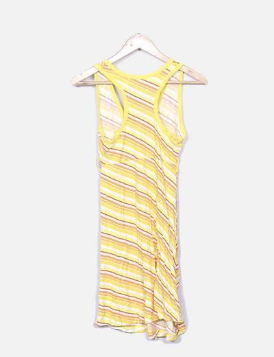 2019 original envío complementario alta moda Vestido de rayas con cinturón