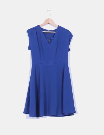 Vestido evasé azul klein