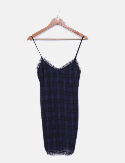 Zara robe bleue dentelle