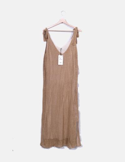 Maxi vestido camel combinado