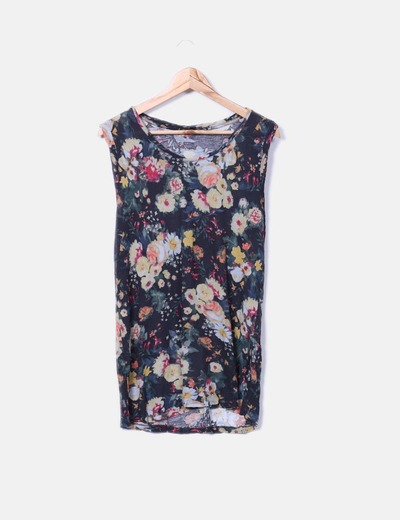 Camiseta fluida floral sin mangas Mango