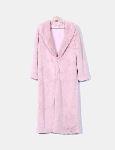 Abrigo largo de pelo rosa House of London