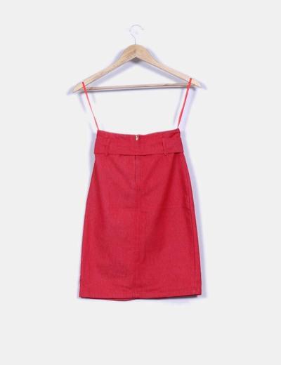Falda midi roja efecto vaquero
